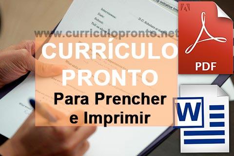 Banner Currículo Pronto para Preencher e Imprimir